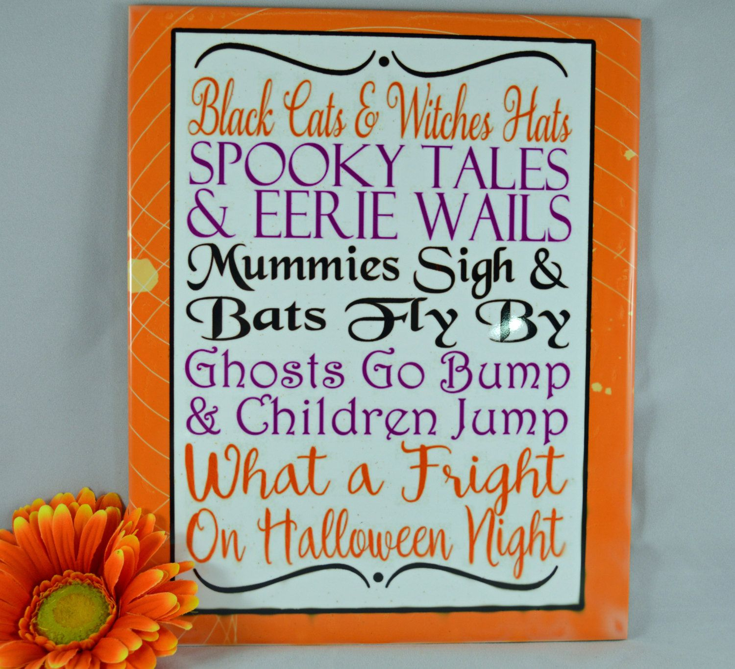 "Tile Decorations Classy Halloween Word Art  8"" X 10"" Ceramic Tile  Word Art Decorative Decorating Design"