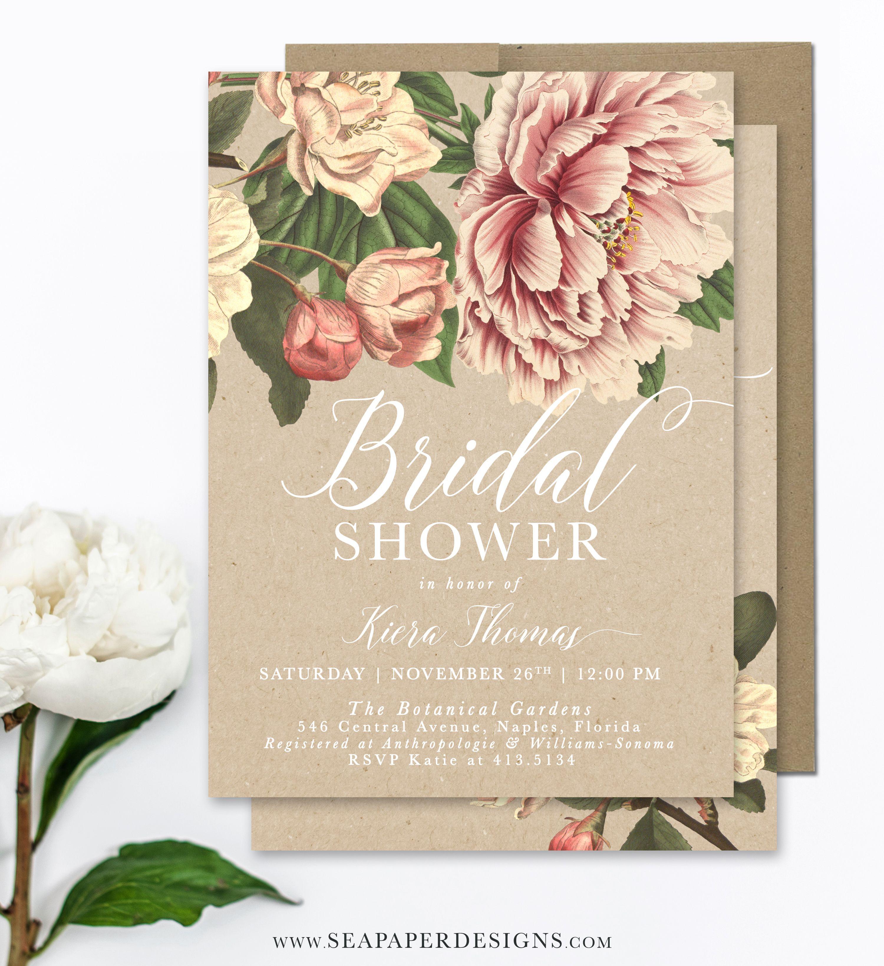 Kiera Bridal Shower Invitation Peonies Roses Vintage Bridal
