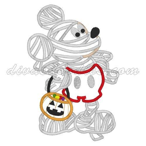 Mickey Mouse Halloween Mummy Machine Applique! $4.00