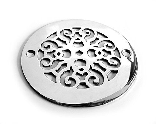 Charming Designer Drains Brushed Nickel Classic Scrolls No. 4 Round Decorative  Shower Drain Cover Grate