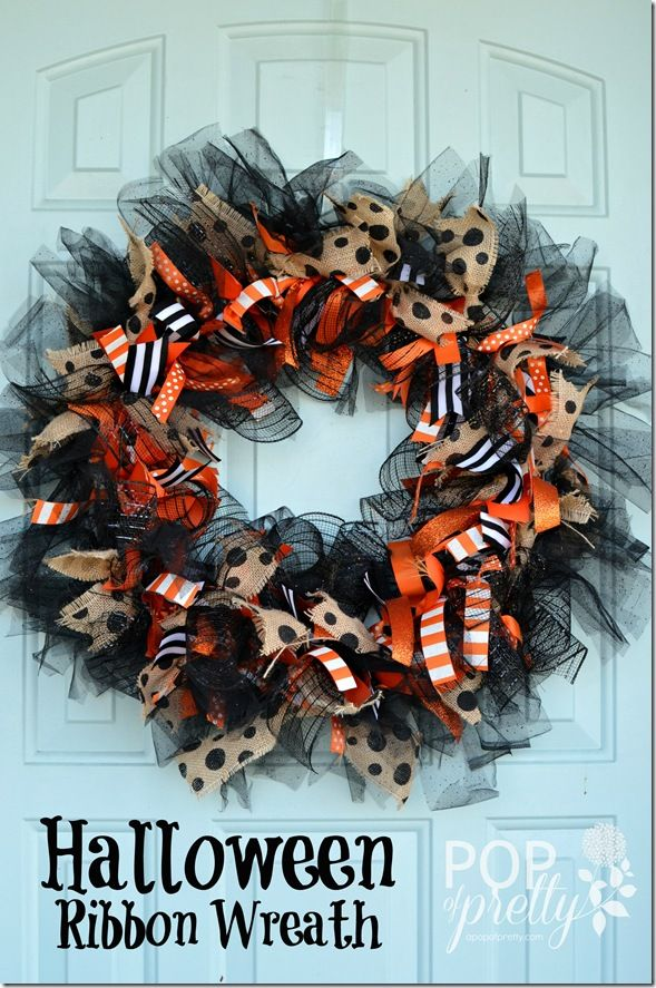 Halloween Whimsy: DIY Ribbon Wreath | Wire wreath frame, Wire wreath ...