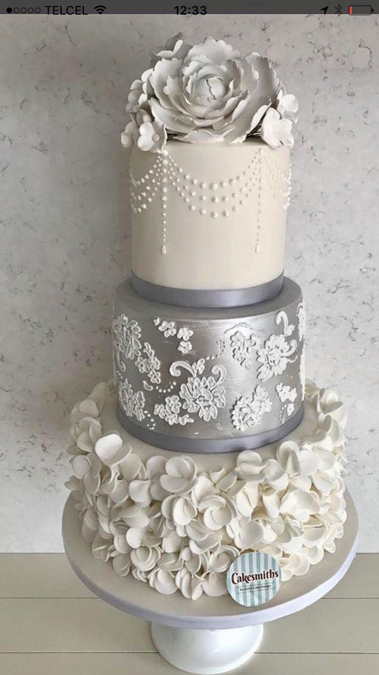 Silver Lace And Hydrangeas Wedding Cakes Wedding Cake