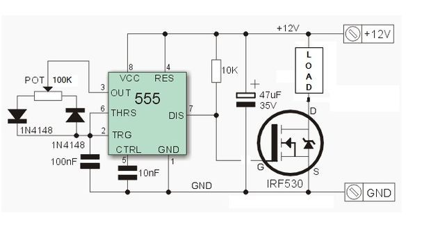pwm dimmer using ne555 and mosfet diy aluminium case picture of circuit diagram ne555 pwm led dimmer