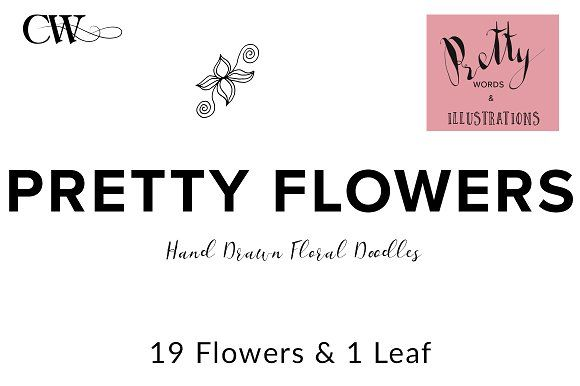 Flower Doodles by CoutureWeb on @creativemarket
