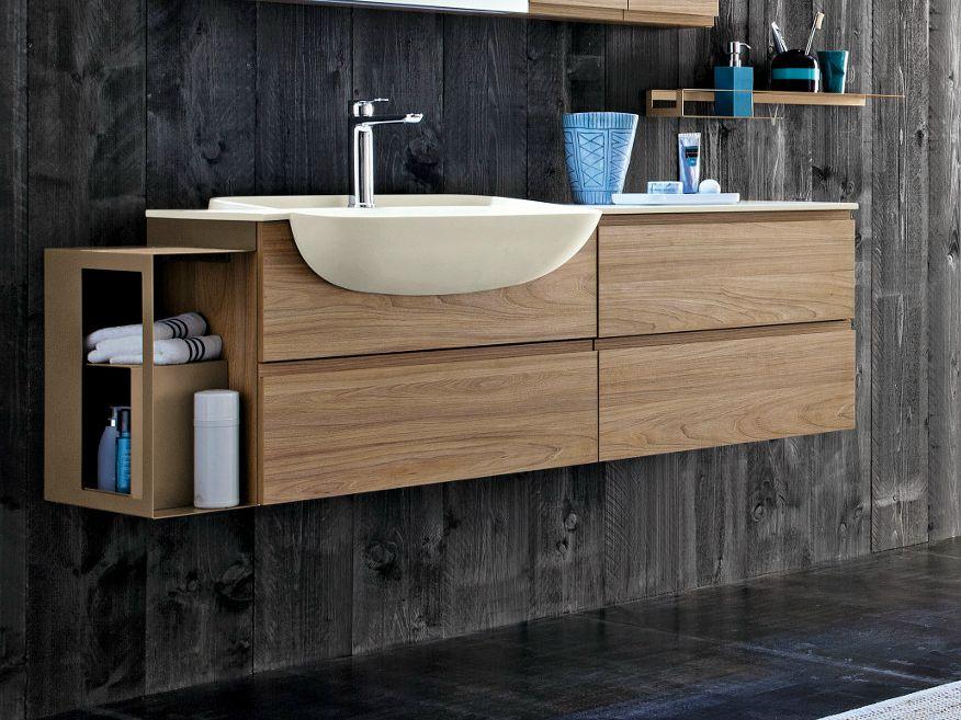 Mueble bajo lavabo suspendido de madera multiestrato con for Bajo gabinete tocador bano de madera
