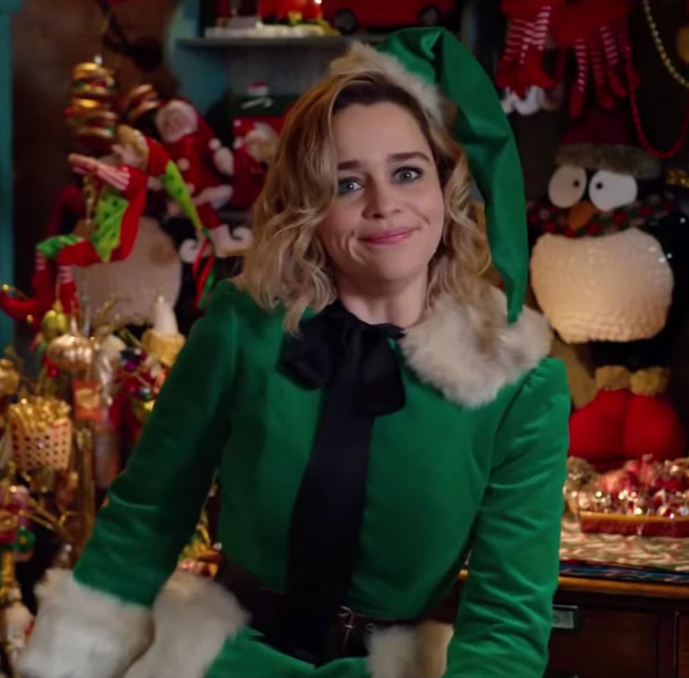 Green elf costume Emilia Clarke in Last Christmas in 2020