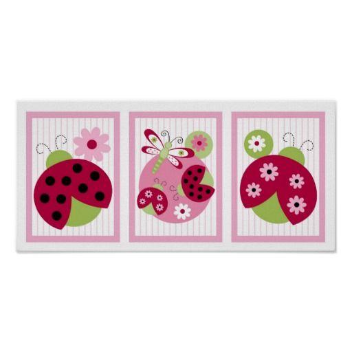Sweetie Pie Ladybug Dragonfly Nursery Wall Art Poster
