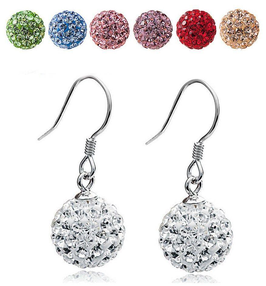 Dafu 925 sterling silver full crystal ball shaped shambhala earrings ... 056abc782d