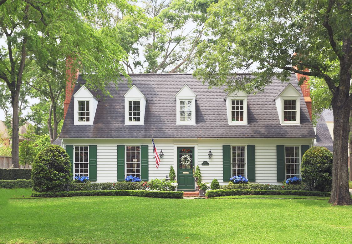 White Colonial With Green Door And Shutters Colonial House