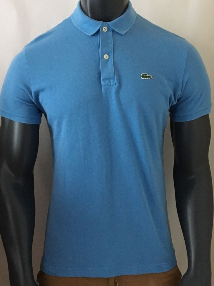 f9d3f77436c8e STUNNING MENS LACOSTE POLO SHIRT SIZE 5 BLUE SLIM FIT MEDIUM IMMAC !!!!!!!   LACOSTE  POLO