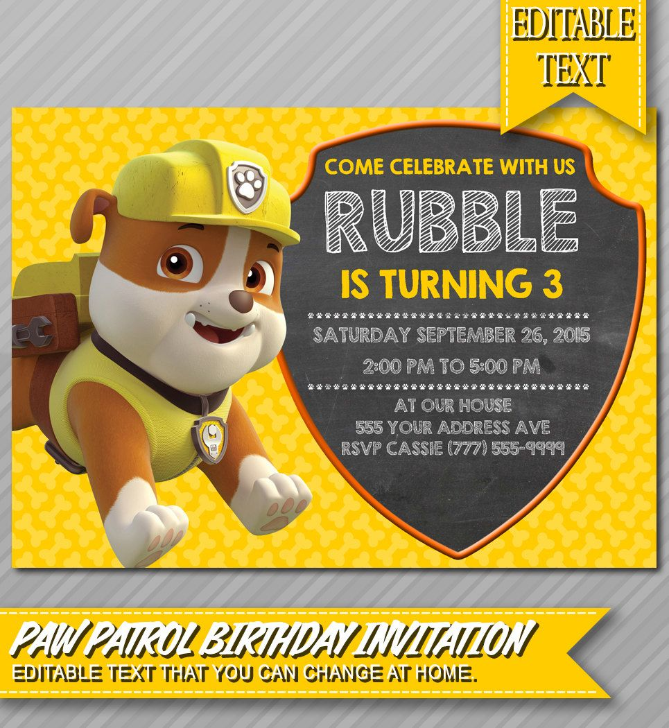 Rubble Paw Patrol Invitation - Instant Download - Paw Patrol birthday party invite, construction invite by WolcottDesigns on Etsy