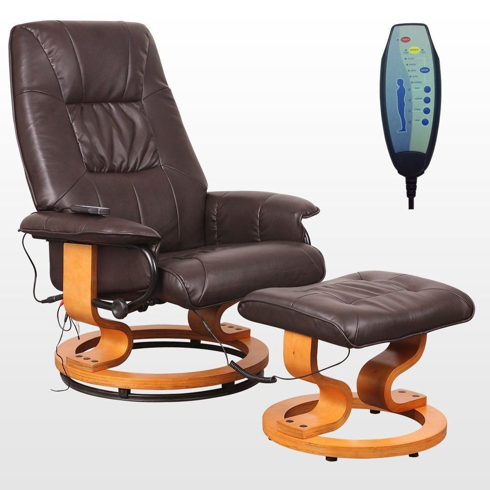 office recliners. Details About Leather Massage Chair Office Swivel Recliner Stool Remote Wood Unit Foot Arm NEW Recliners R