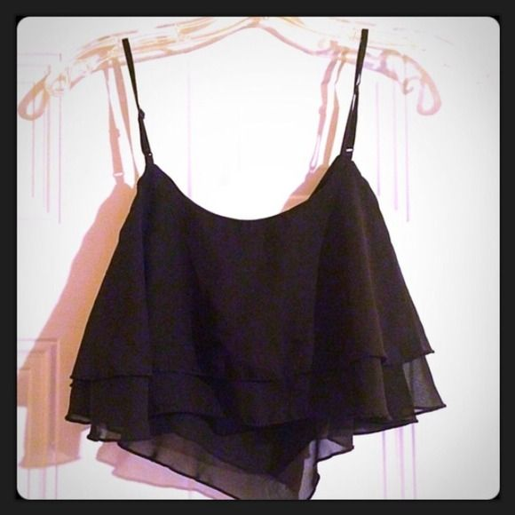 Black Spaghetti Strap Crop Top  Condition: Excellent (9/10)  Size: S-M  Details: Extra Short Tops Crop Tops