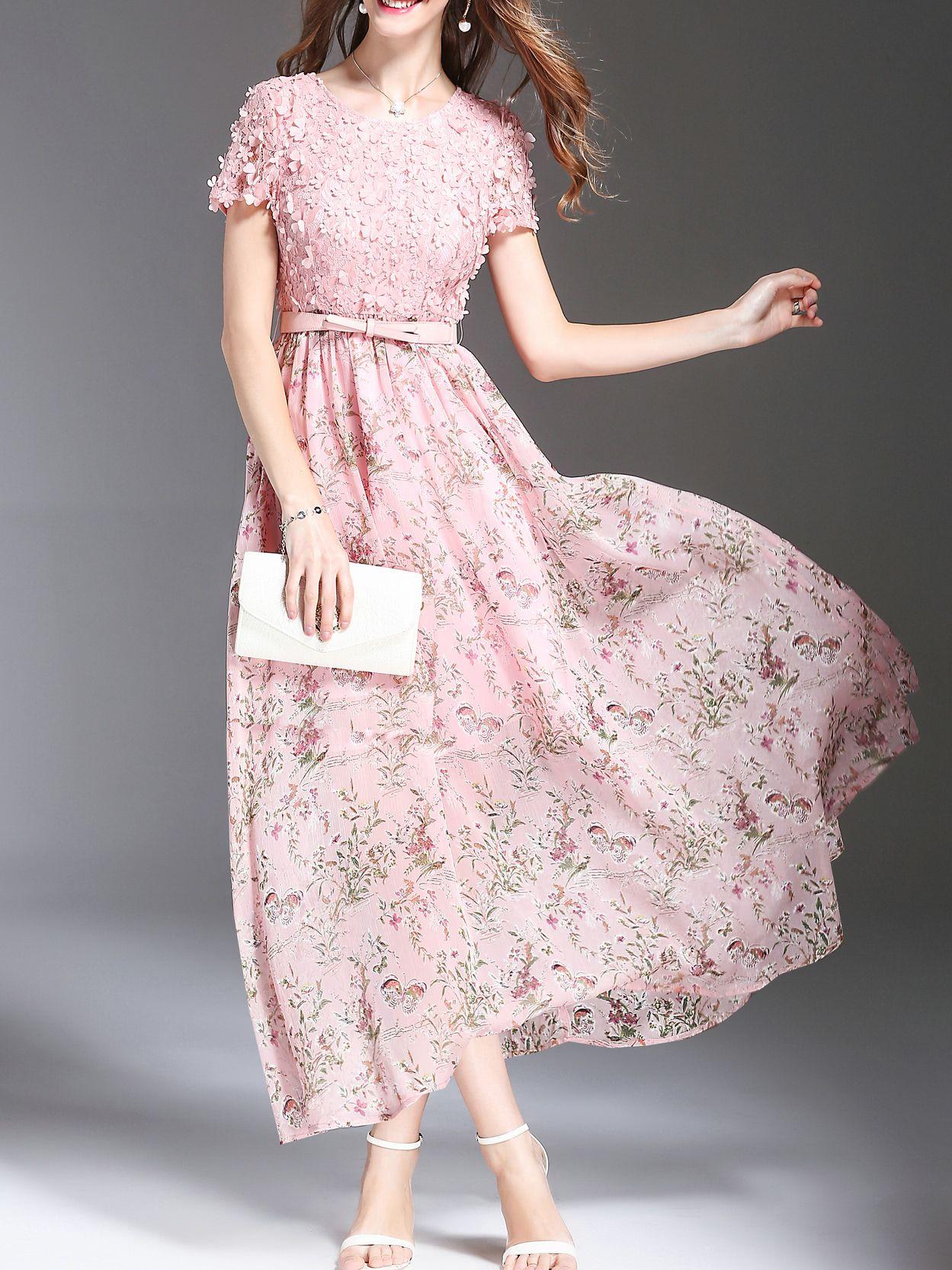 7a431ce5ce Flowers Applique Beading Floral Dress -SheIn(Sheinside) | Shein ...