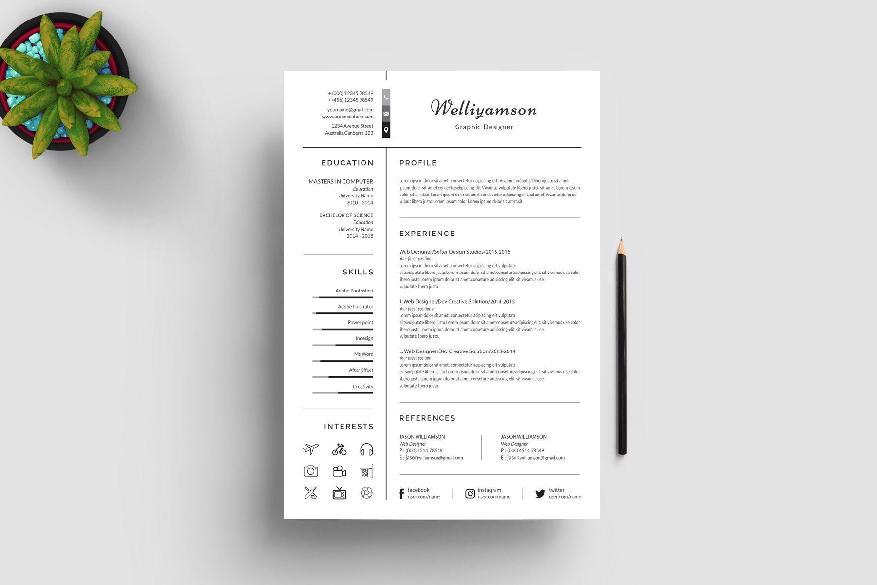 Welliyamson Clean Resume Template 78547 Templates