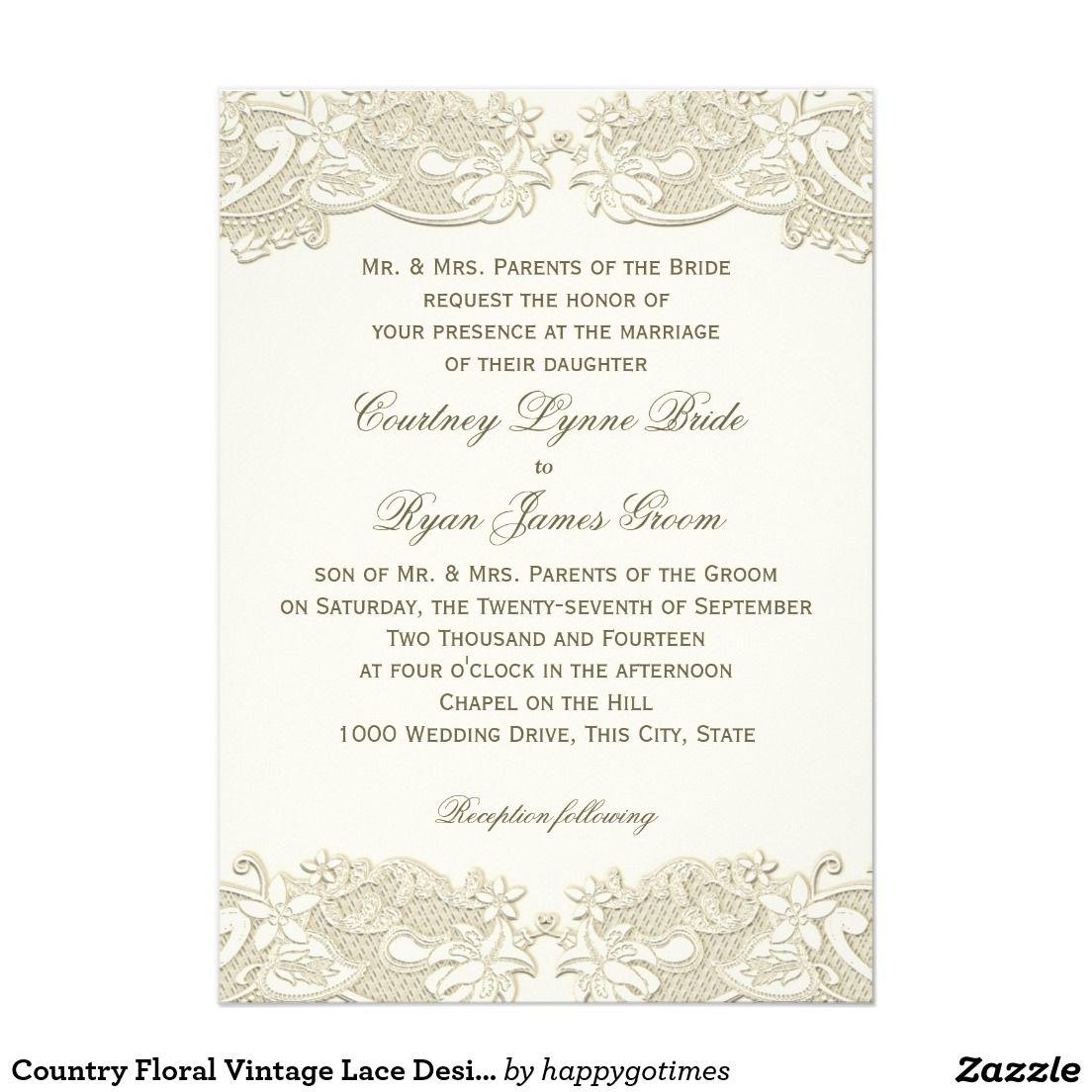 Country Floral Vintage Lace Design Wedding Card Vintage inspired ...