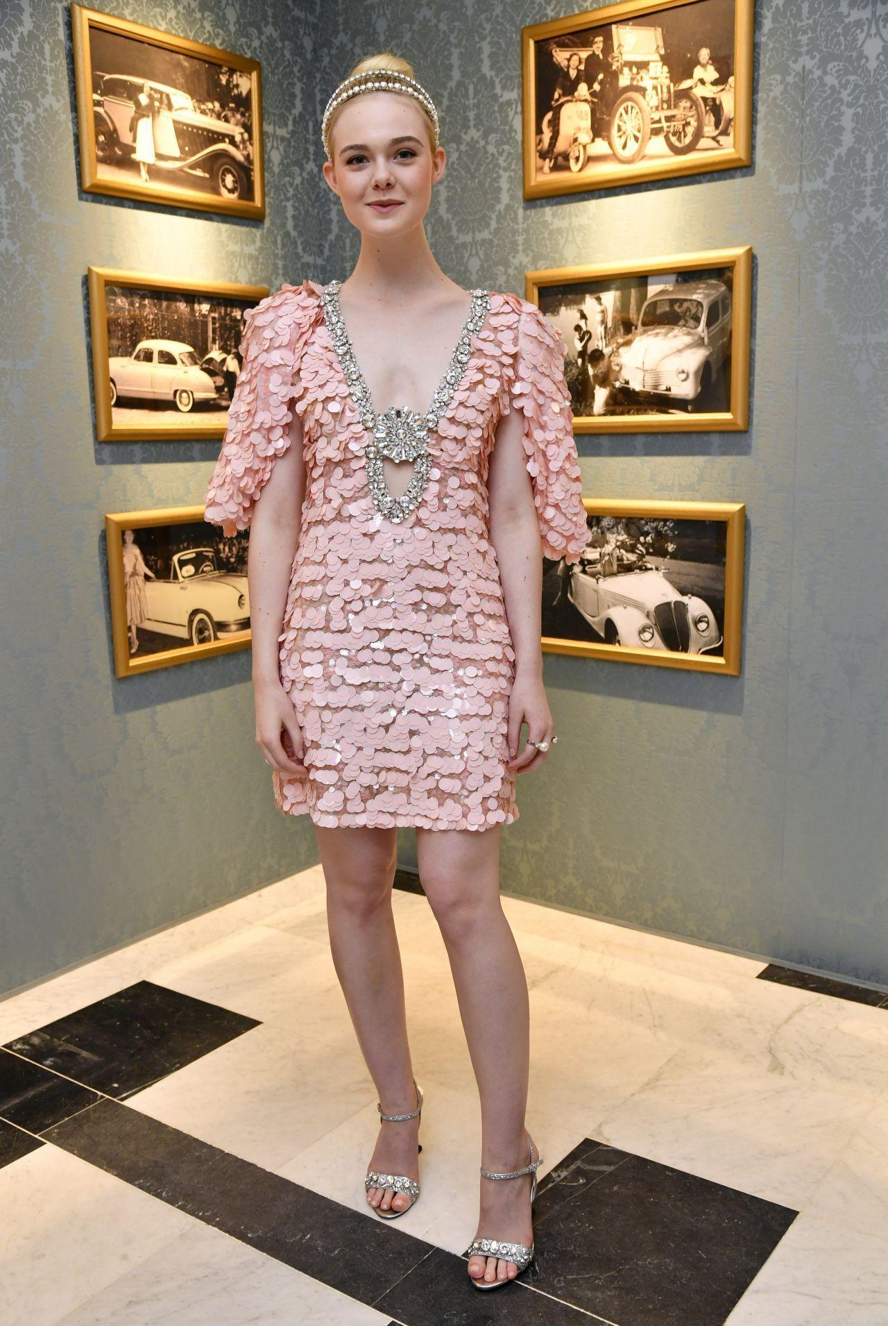 Elle fanning at miu miu dinner haute couture fashion week in paris
