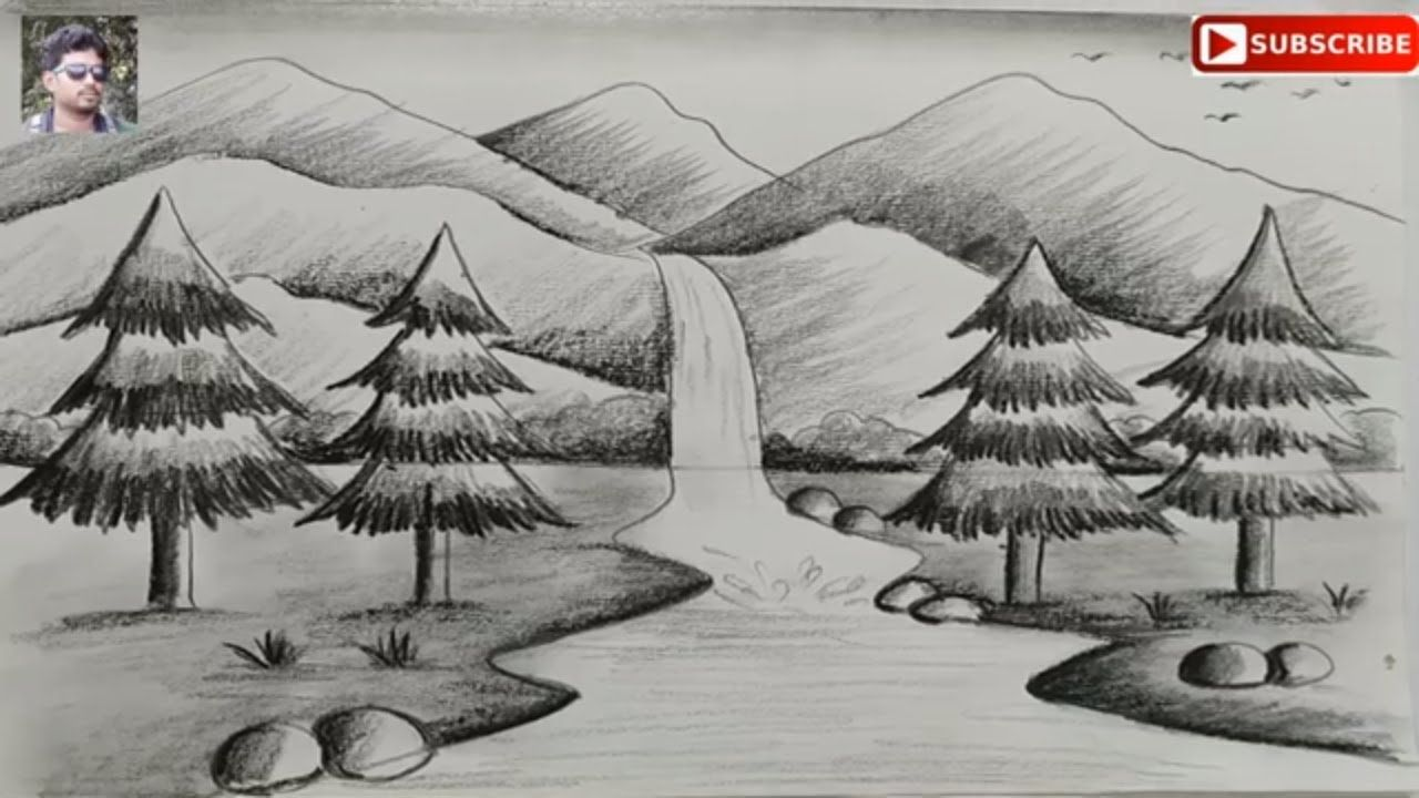 How To Draw Easy Pencil Sketch Scenery For Kids Landscape Pahar And Rive In 2020 Landscape Drawing Easy Landscape Pencil Drawings Drawing Scenery