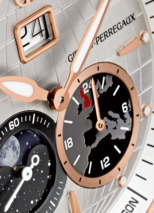 Girard-Perregaux Traveller Large Date, Moon Phases & GMT Longitude Act (dial fragment, sub-dials)