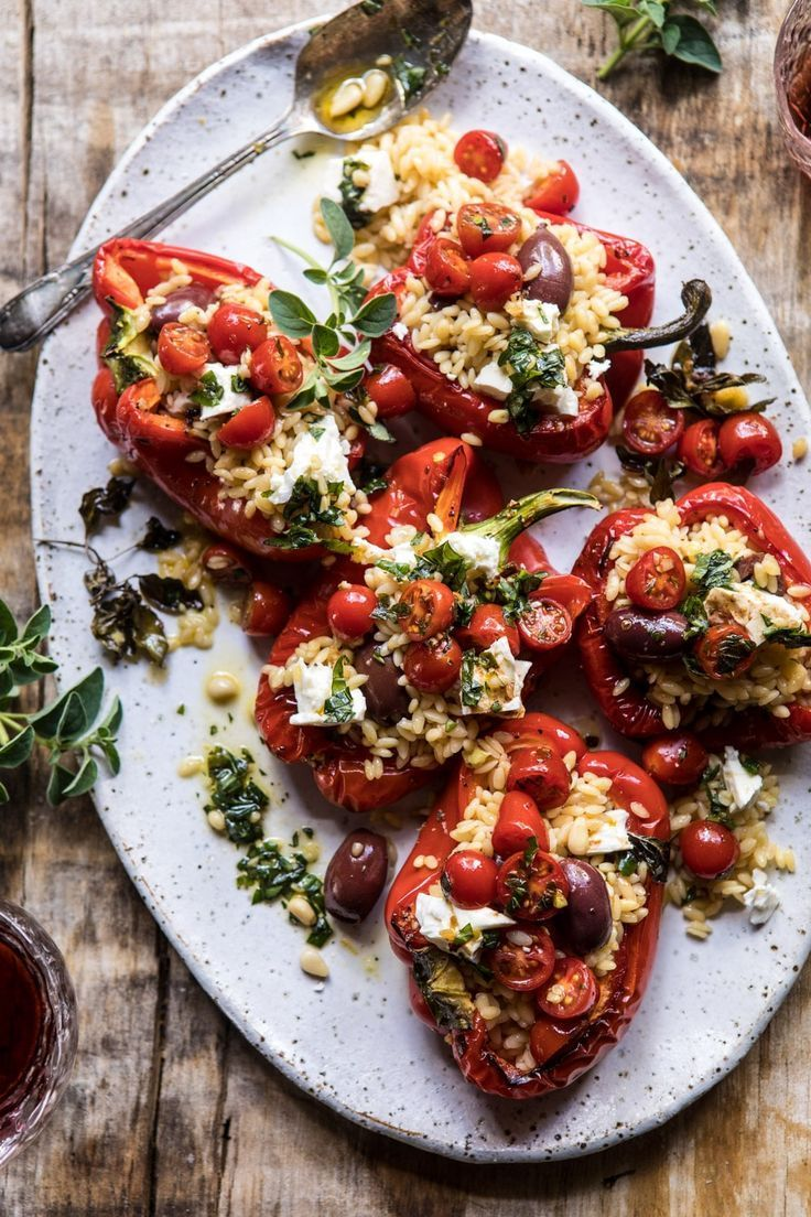 Greek Orzo Stuffed Red Peppers with Lemony Basil Tomatoes #bellpeppers