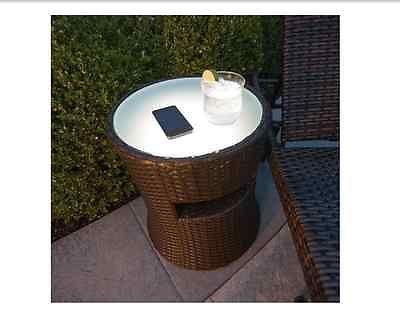 Wicker End Table Indoor Outdoor Bluetooth Wireless Speaker Coffee