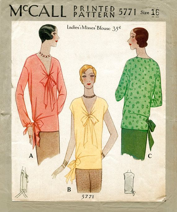 1920s 20s vintage sewing pattern McCall 5771 flapper blouse tie collar bow bust 34 b34 reproduction