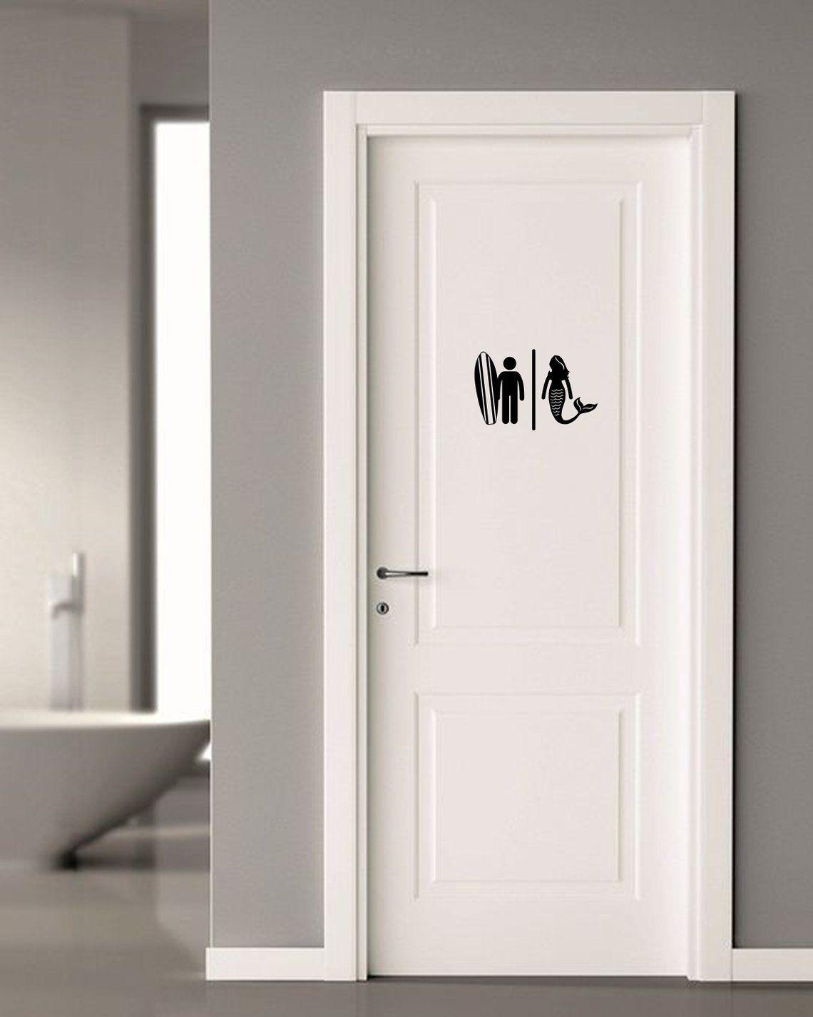 Surfer Mermaid Restroom Door Sign Premium Vinyl Decal Etsy Amazing Bathrooms Door Decals Door Signs