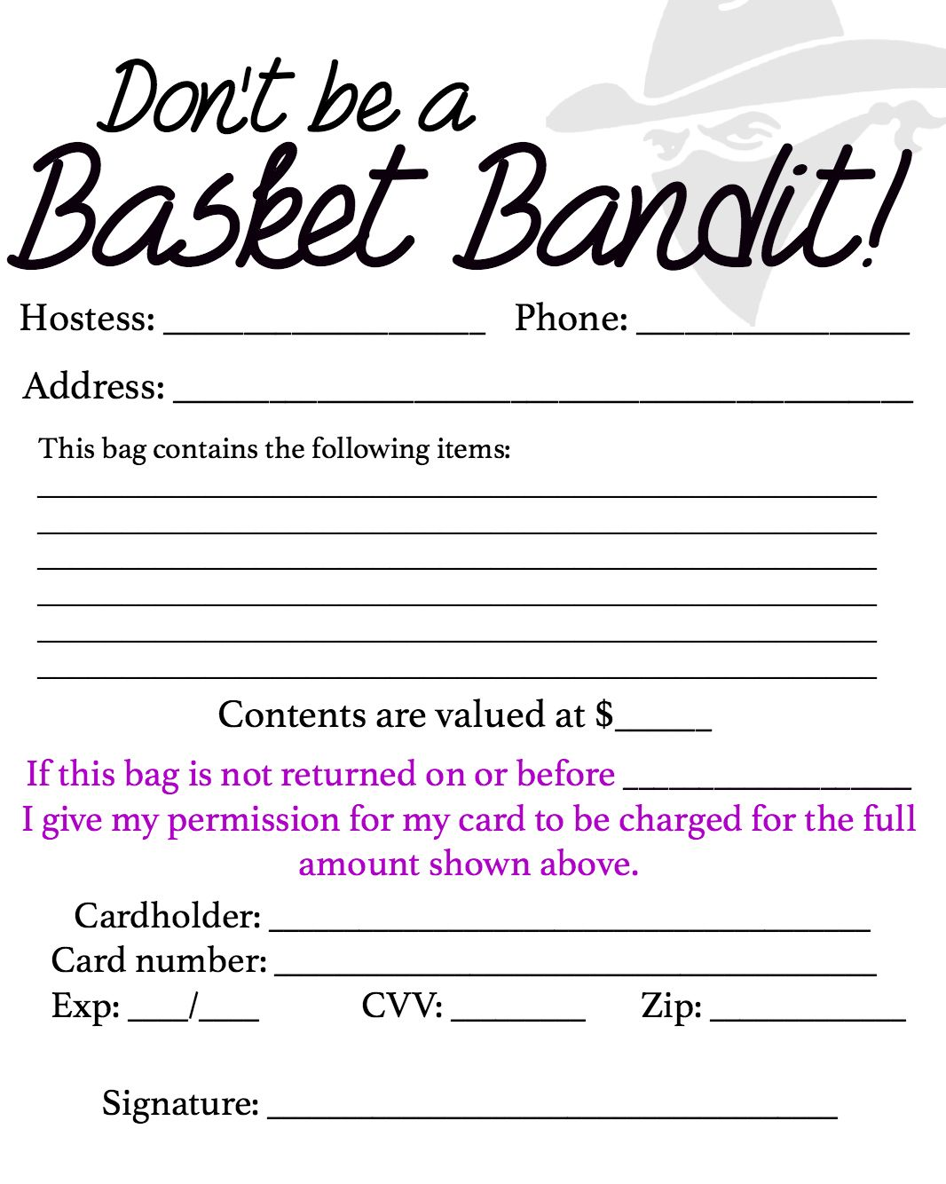Basket party contract for Paparazzi jewelry gift basket