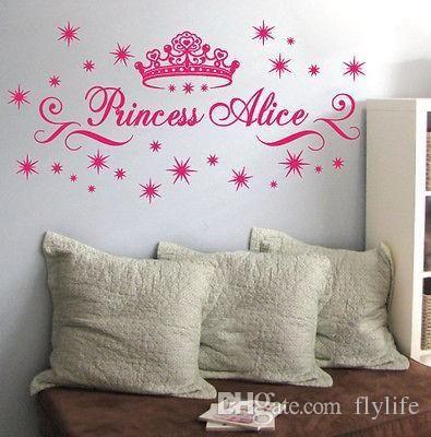 Customer made personalised name princess crown stars wall art sticker girls kids decal my wall tattoos