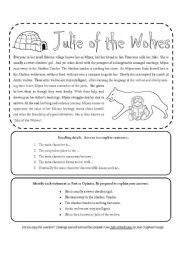 Julie of the Wolves-worksheet-- Julie of the Wolves A brief summary ...