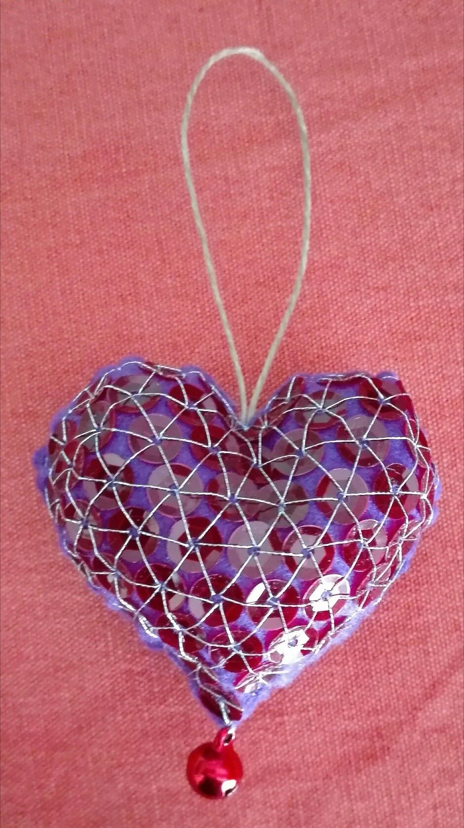 62be8b5815 heart for grazia - 22 febbraio 2017 - handmade by mariarosa - violet felt,  bell and 109 red paillettes.