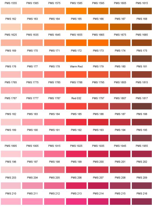Pantone Colour Chart  Pantone Colours    Pantone Color