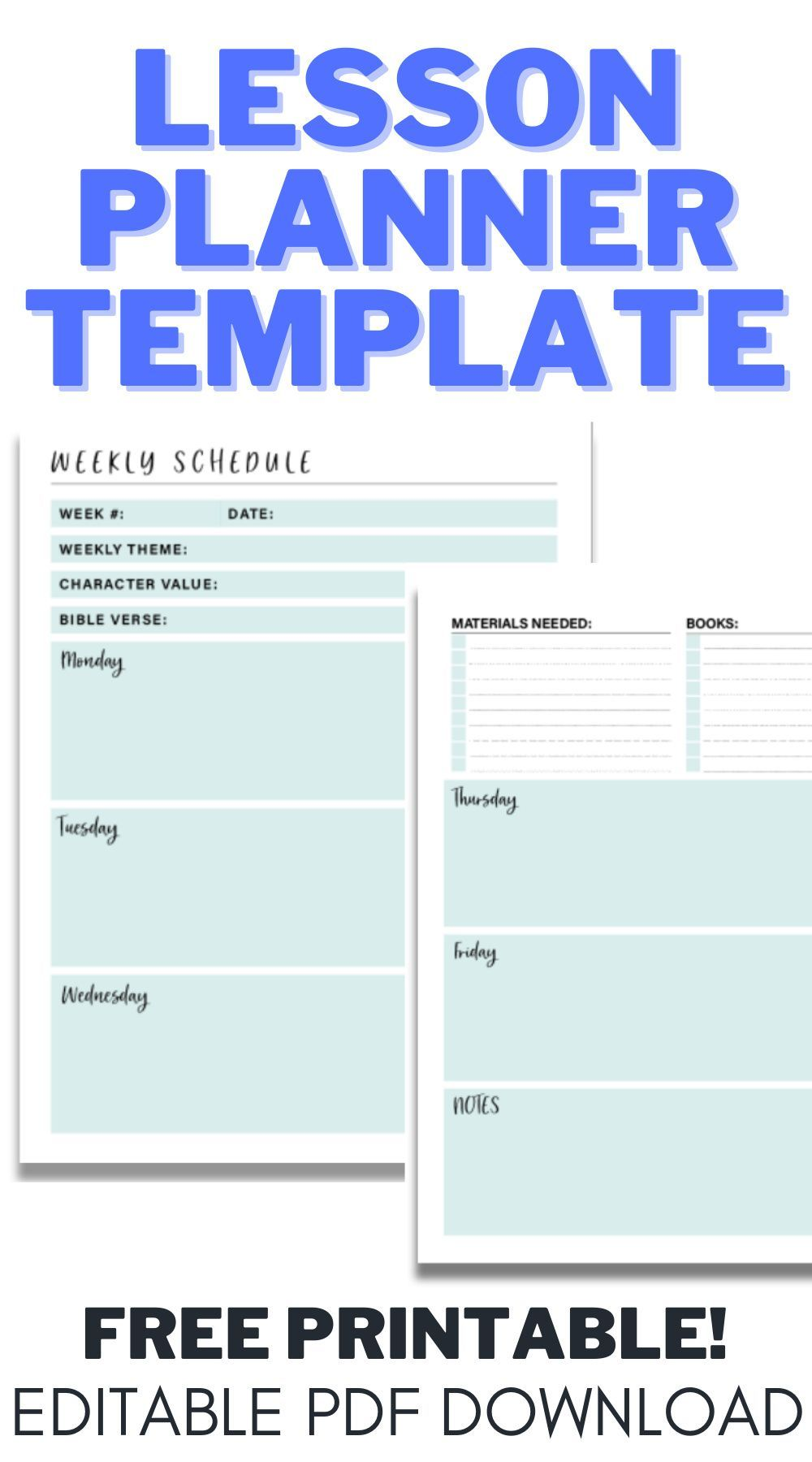 Lesson Planner Templates Editable FREE PDF Downloads For