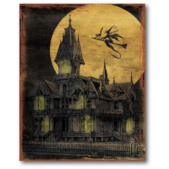 Golden Moon Haunted House Graphic Art Print On Canvas In