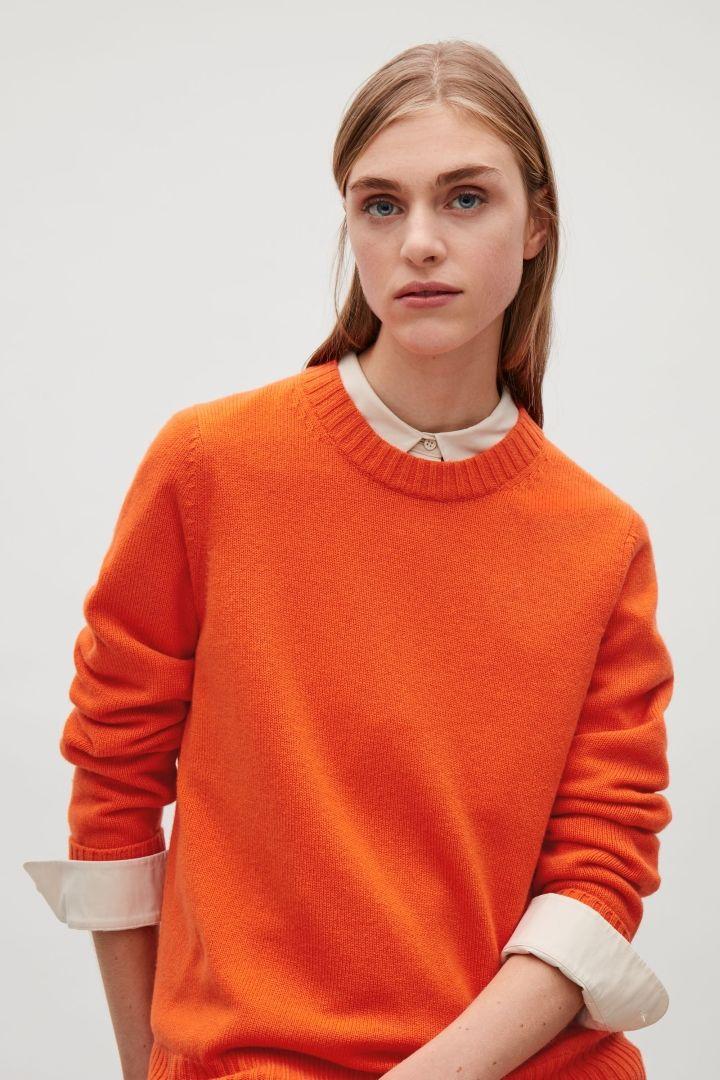 a18c523abd7f73 COS image 20 of Round-neck cashmere jumper in Orange | knits ...