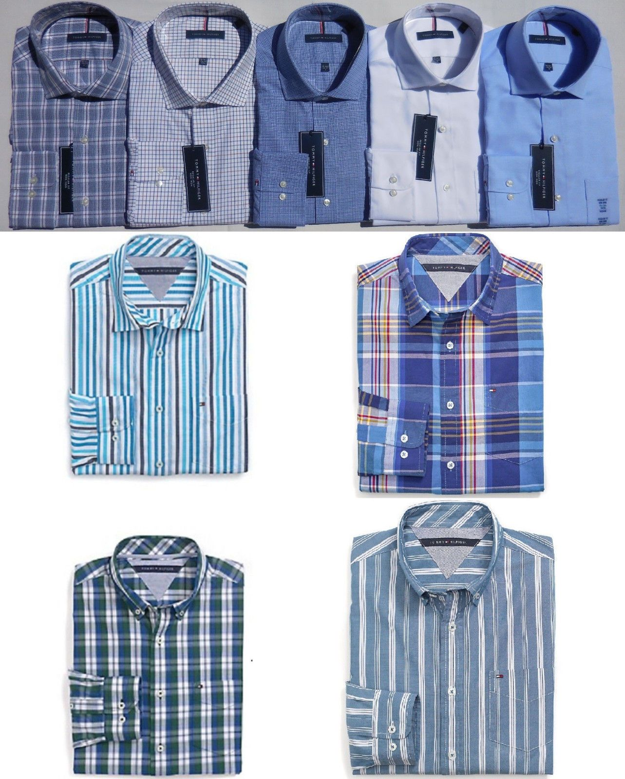 TOMMY HILFIGER MEN PLAID SHIRT ALL SIZES NWT white blue 100/% cotton chest pocket