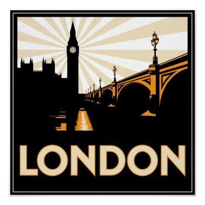 art deco london poster travel vintage pinterest affiches affiche pub et affiches r tro. Black Bedroom Furniture Sets. Home Design Ideas