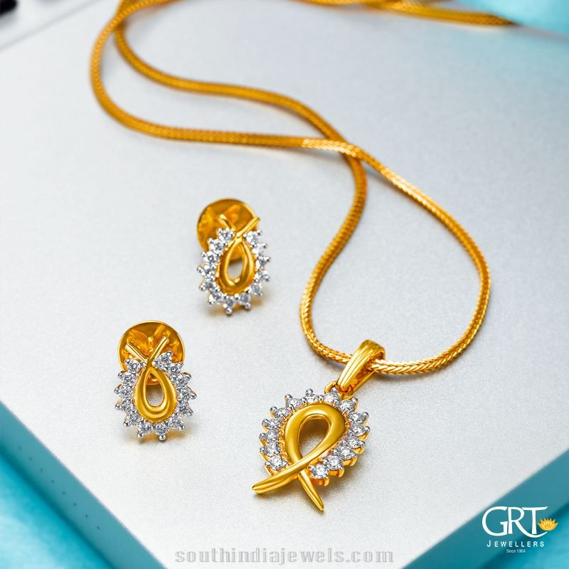 22k gold chain with earrings from GRT Jewellers | Jewellery ...