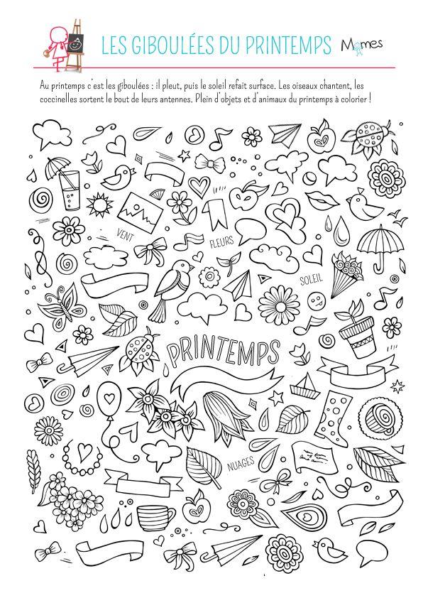 Coloriage les giboulées du printemps | Coloriage printemps
