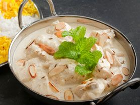 Korma Curry - Prepared with cream, yoghurt, fruit and nuts producing a sweet creamy flavour with a subtle hint of spices. Not as hot as a Vindaloo, this is a soft, easy eating curry that goes well with a glass of Sauvignon Blanc.