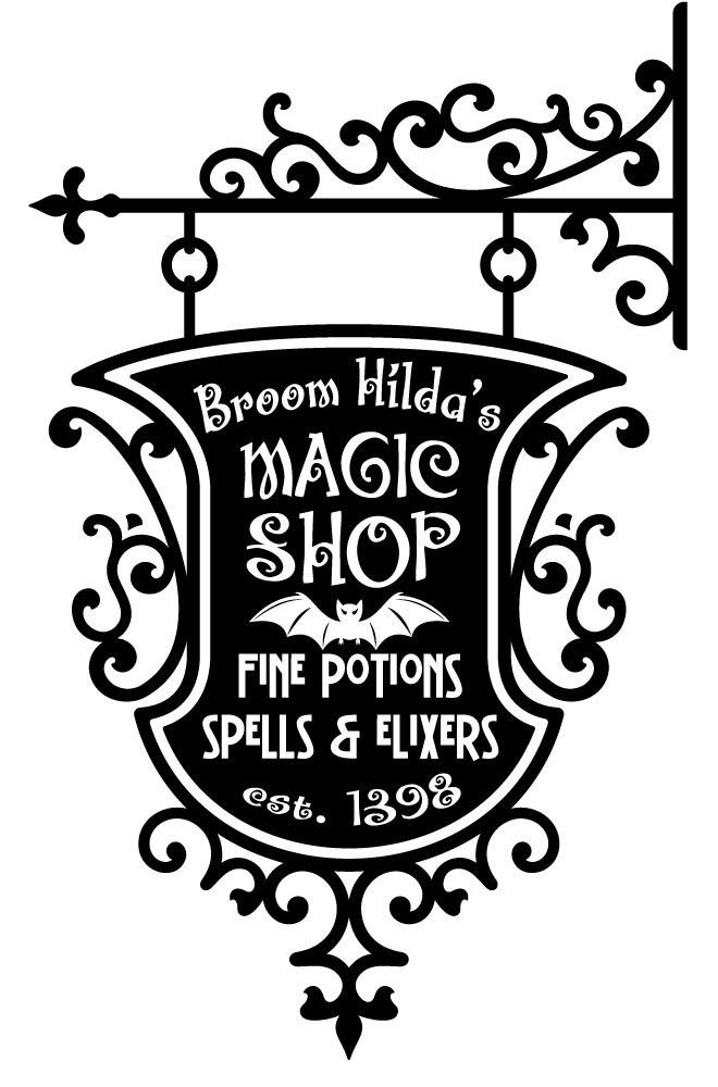 Broom Hildas Magic Shop Sign Wall Decal Sticker