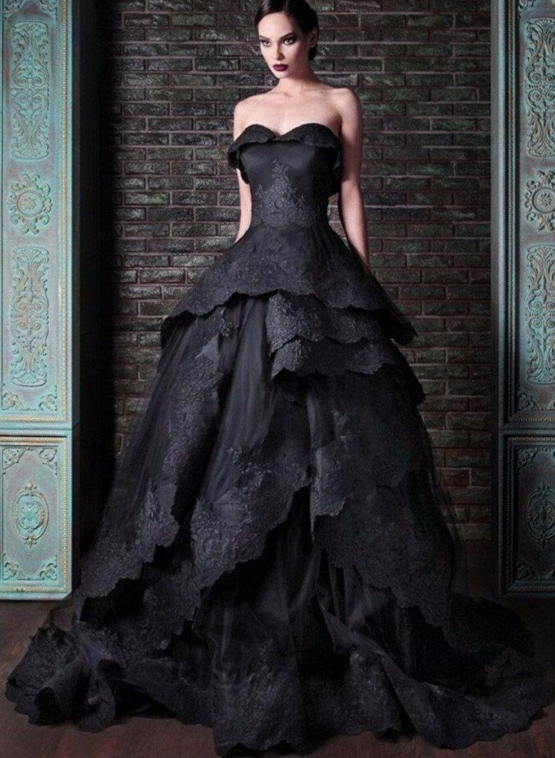 36046f867a Beautifully Detailed Black Lace Edged Gothic Wedding Dress. Custom ...