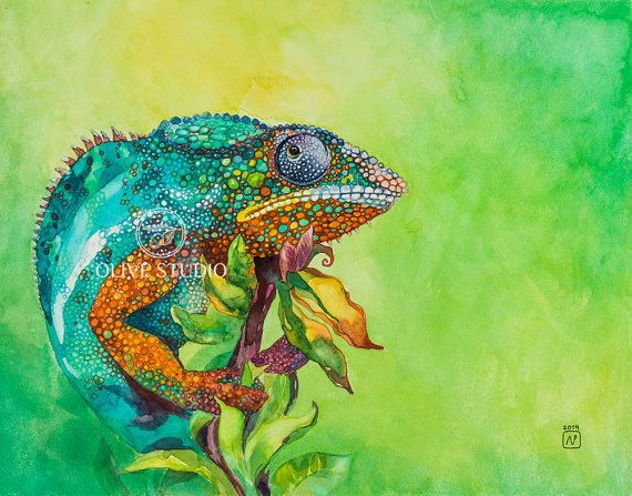 Watercolor painting of Chameleon Giclee print by OliveSmallStudio