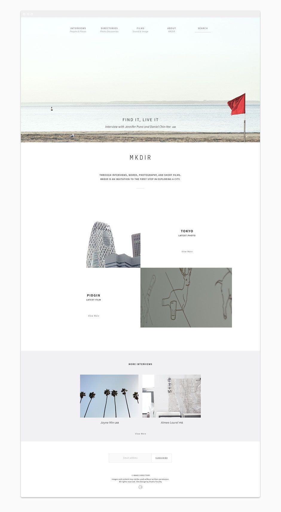 MKDIR—responsive website design homepage, by Vancouver Design Studio Faculty
