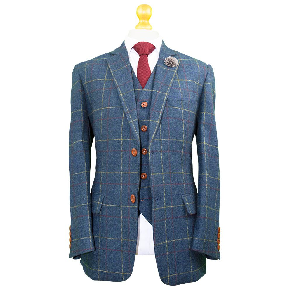 Gentlemen\'s Blue Overcheck Tweed Suit | Men\'s Tweed Suit | Pinterest ...