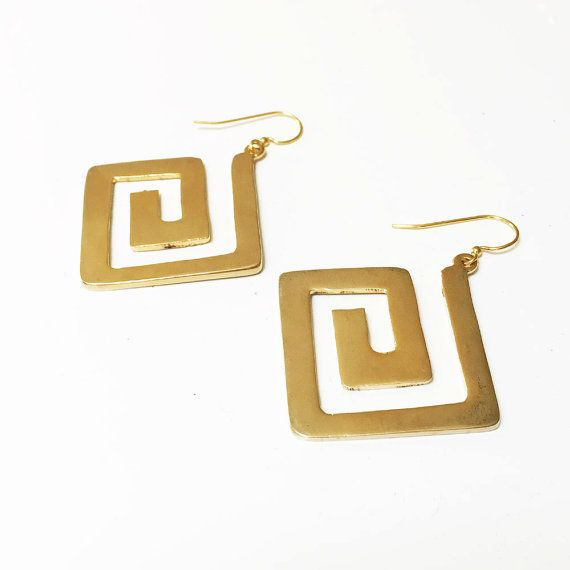 Gold Modern Myth Greek Key Symbol Earrings By Lisastewartjewelry