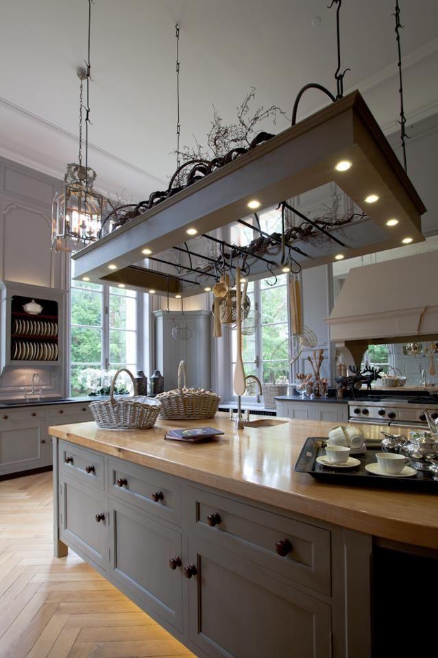 küche anthrazit grau rahmenfront landhaus insel arbeitsplatte, Hause ideen