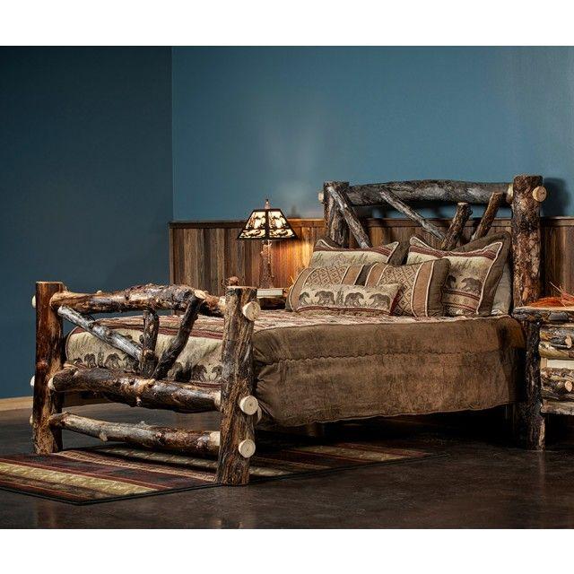 Broken Arrow Dark Aspen Log Bed Shown In Clear Finish Log Bed Beautiful Bedding Rustic Bedding