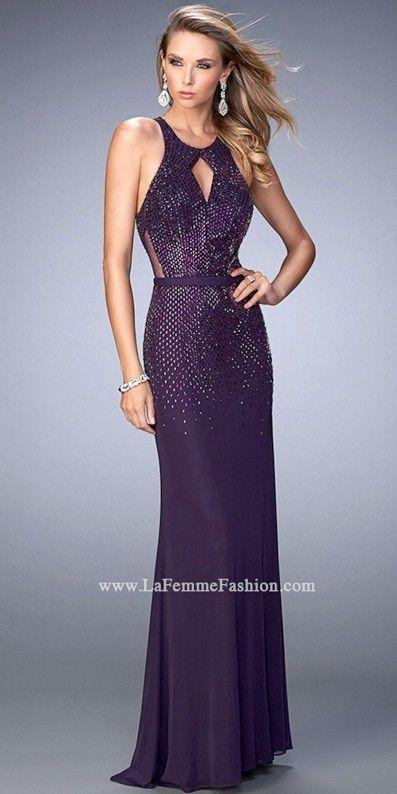 2032983def La Femme Cascading Rhinestones Open Back Evening Dress Plum Prom Dresses