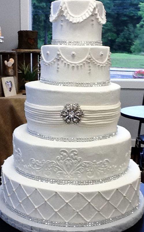 True Elegance 5 Tier Wedding Cake In Buttercream By